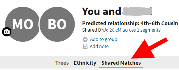 Ancestry Shared Match Tab