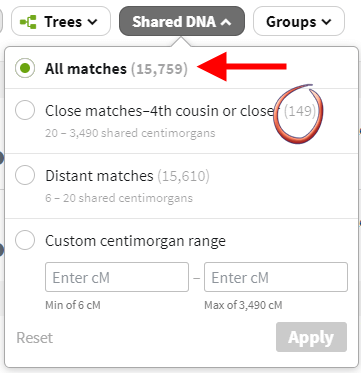 Count of Ancestry Matches