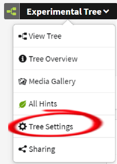 The tree settings option in the menu
