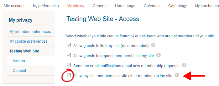 MyHeritage Privacy Setting