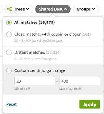 shared dna filter with custom centimorgan range set to twenty to four hundred cm