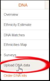 highlighted menu item to upload dna