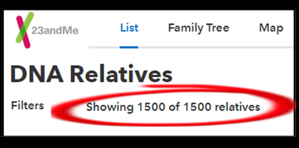 description shows that 1500 relatives are available