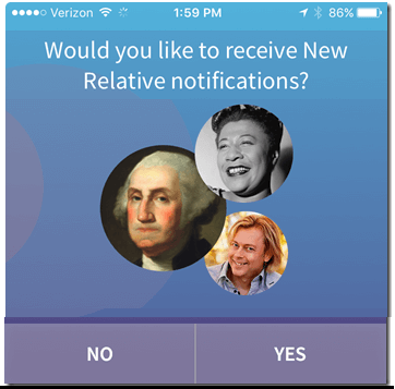 ancestry were related app notifications screen