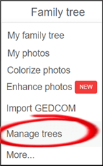 family tree drop down menu with highlighted item to manage trees