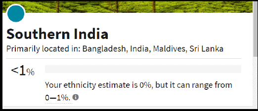 Ethnicity estimate for Southern India at less than 1 percent
