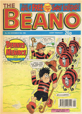 comic cover of the beano featuring denis the menace