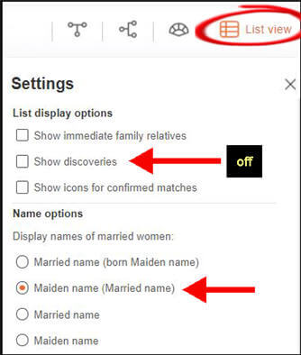 myheritage list view with expanded tree settings with highlighted options for show discoveries and maiden names