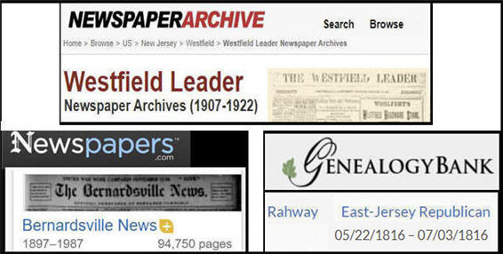three new jersey newspapers from each archive