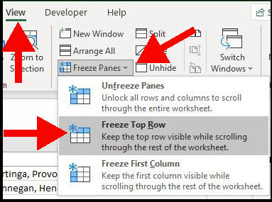 excel menu with view tab opened, freeze panes menu item is highlighted, freeze top row menu item is highlighted